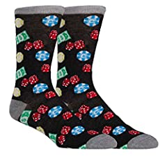Funny men's novelty socks, great for groomsman gifts or a guy's trip to Vegas. Made of 98% polyester and 2% spandex. Make dad's work wardrobe more exciting with these fun socks for men.