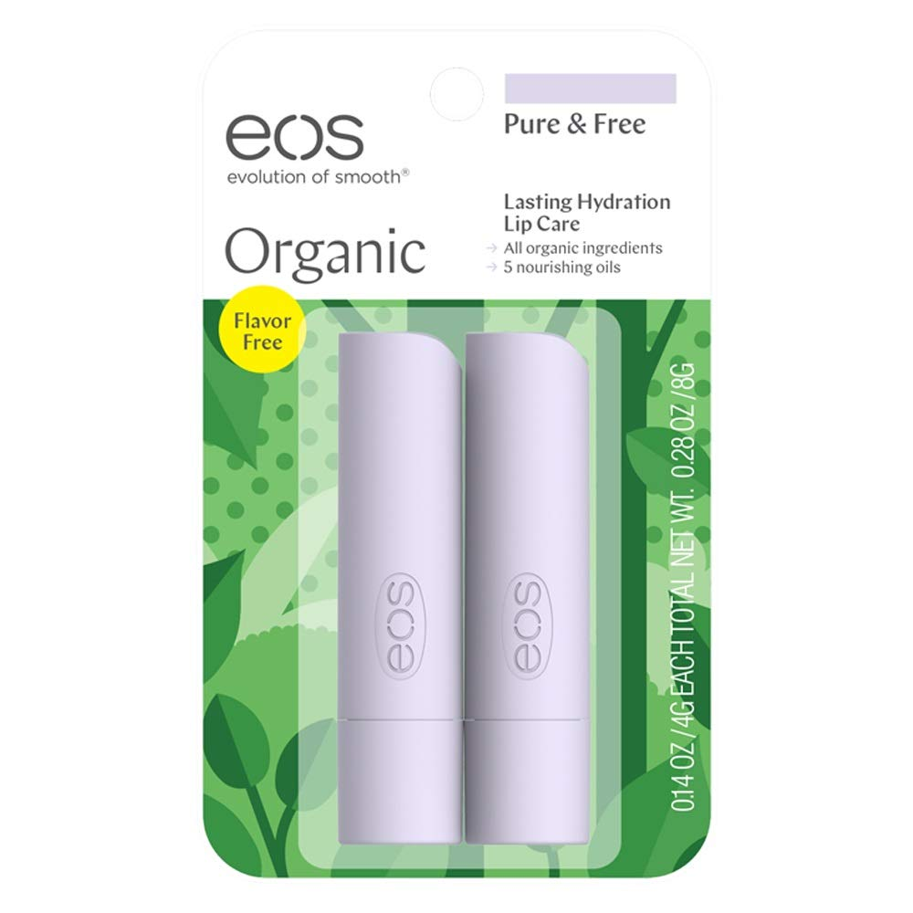 eos Organic Stick Lip Balm - Pure and Free | Certified Organic & 100% Natural | 0.14 oz