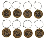 Cork Wine Glass Charms (20+ Unique Designs) - Set of 8 - Zoo Animal Designs: Lion, Monkey, Owl, Panda, Bear, Camel, Elephant, Koala - Tags to Mark Your Drink (Zoo Animals)