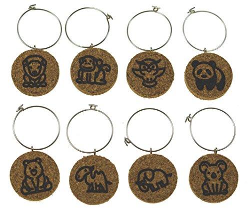 Elephant Charm Glass (Cork Wine Glass Charms (20+ Unique Designs) - Set of 8 - Zoo Animal Designs: Lion, Monkey, Owl, Panda, Bear, Camel, Elephant, Koala - Tags to Mark Your Drink (Zoo Animals))
