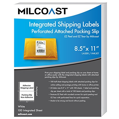 Milcoast Integrated Shipping Labels with Perforated Attached Packing Slip - For Inkjet / Laser Printers (100 sheets) (Labeling Integrated)