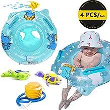 Set de baño para niños de 3 a 36 meses, juguetes inflables seguros para piscina o bañera con manija de seguridad, juguetes de tortuga y cocodrilo que nadan , Azul