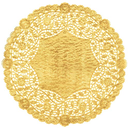 Gold Foil 8 inch Paper Lace Decorative Doilies - Heavy Duty and Premium Quality - Made in Canada (50) ()