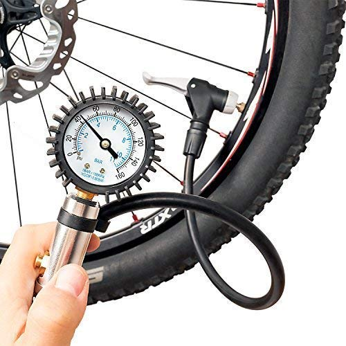 (CycloSpirit Bicycle Tire Inflator Gauge - Air Compressor Tool with Smart Auto-Select Valve for Presta and Schrader)