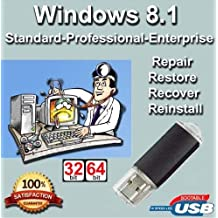 Windows 8.1 64-Bit Install | Boot | Recovery | Restore USB Flash Drive Disk Perfect for Install or Reinstall of Windows