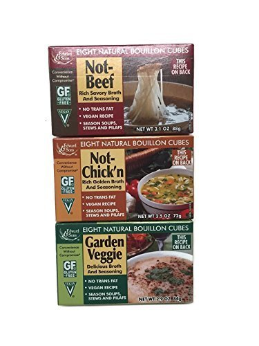 - Not-Beef + Not-Chick'n + Garden Veggie Edward & Sons Bouillon Cubes, Variety Set [1 of Each]