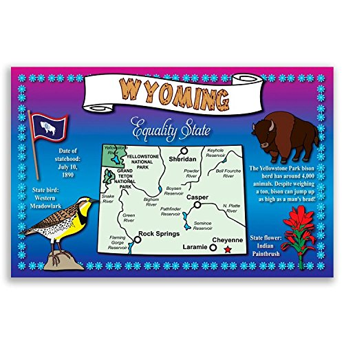 WYOMING STATE MAP postcard set of 20 identical postcards. Post cards with WY map and state symbols. Made in USA.