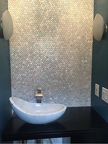 AFSJ Genuine White Herringbone Mother of Pearl Tile 12 Packs-Bathroom Kitchen Backspalsh by AFSJ (Image #6)