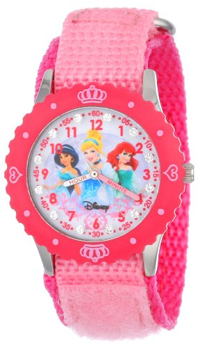 "Disney Kids' W000961 ""Princess Time Teacher"" Watch with Pink Nylon Strap"