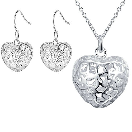 Women 925 Silver Plated Hollow Heart Pendant Necklace + Bracelet + Earrings Jewelry Set - 3