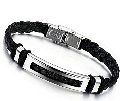 Jstyle Schmuck Edelstahl Herren allergiefrei Herrenarmband Lederarmbänder Leder breit Armband best Freund schwarz für Männer 20 cm Länge