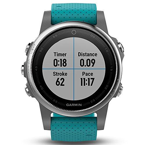 Garmin Fēnix 5S - Montre GPS Multisports Outdoor - Argent avec Bracelet Noir Argent avec Bracelet Turquoise