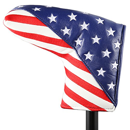 Golf Stars and Stripes Golf Putter Club Head Cover Headcover for Odyssey Blade Callaway Taylormade Ping Mizuno (for Blade Putter)