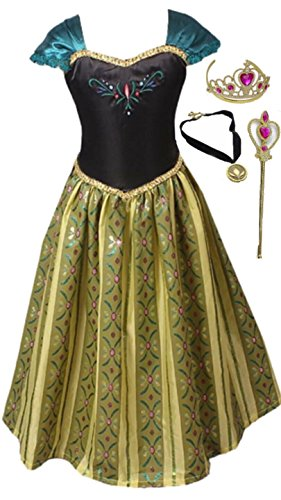 FashionModa4U Anna Coronation Dress, Tiara, Necklace and Wand, 4-5 Years Dark Green ()