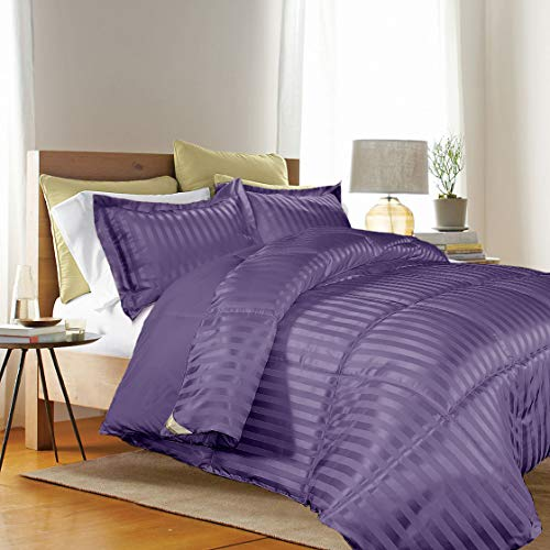 Kathy ireland - ESSENTIALS Microfiber Damask Stripe/Solid 3-PC Reversible Down Alternative Comforter Set, King, Purple