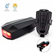 Bike Tail Light , XIAOKOA USB Rechargeable Remote Alarm Taillights with 10 LED 120 lumens & 3 Light Mode Options & 100 meter Remote Control 120 decibel bells waterproof and Concealed design. (A6)