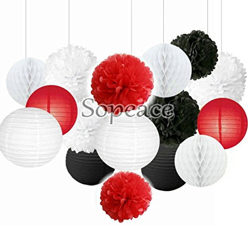 Sopeace 16 pcs Mixed Red Black White Party Decor Kit Paper lantern Paper Star Garland Tissue Pom Poms Hanging Flower Ball for Wedding,Birthday,Baby,Bridal Shower,Room decor &Themed Party Decor Favor ()