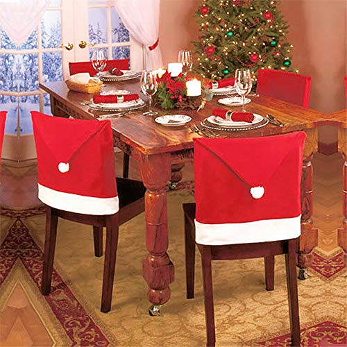 Santa Red Hat Chair Covers, Set of 4 PCS Kitchen Chair Covers Red Hat Dinner Chair Slipcovers for Christmas Holiday Festive Decor ()
