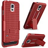 Galaxy S5 Case, i-Blason Transformer Slim Hard Shell Case Holster Combo with Kickstand and Locking Belt Swivel Clip for Samsung Galaxy S5 [Fits AT&T, Sprint, Verizon, T-Mobile] (Red)