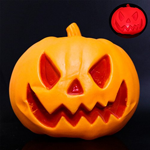 [WER High Brightness Jack-o'-lanterns Unique Carved Halloween Pumpkin Light Trick or Treat Pumpkin Lamp Perfect for Decoration,Bar,Party Celebration without Battery(Smile Face)] (Cute Halloween Carved Pumpkins)