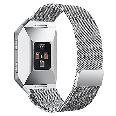 Fitbit Ionic Bands Small & Large, hooroor Fully Magnetic Closure Clasp Mesh Loop Milanese Stainless Steel Metal Ionic Sport Band Accessories for Fitbit Ionic Smartwatch Women Men Girls Boys,More Color