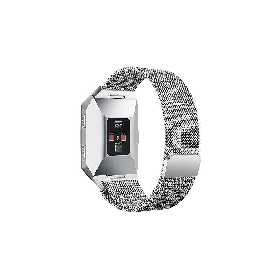 hooroor for Fitbit Ionic Bands Small and Large for Women Men, Fully Magnetic Closure Clasp Mesh Loop Milanese Stainless Steel Metal Ionic Sport Band Accessories for Fitbit Ionic Smartwatch More Colors