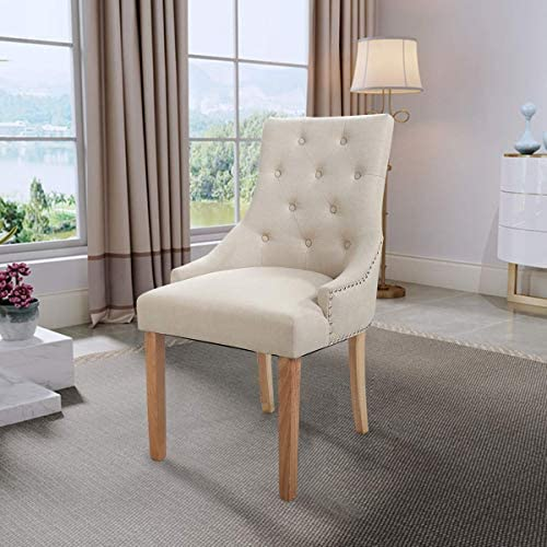 Sandinrayli Beige Tufted Pattern Solid Wood Wingback Accent Dining Hostess Chair
