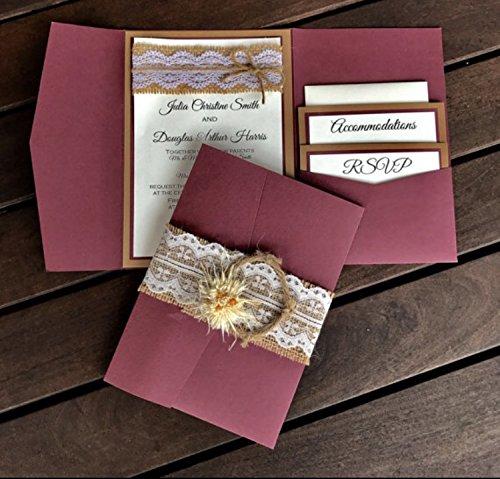 Rustic elegant card vintage invites and pearls LACE Wedding Invitation SAMPLE
