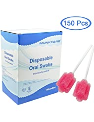 MUNKCARE Oral Swabs Flavored Lemon- Elderly Tooth Cleaning Sponges 150 counts