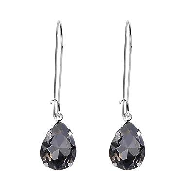 fda8fc604 EVER FAITH Women's Austrian Crystal Elegant Teardrop Hook Dangle Earrings  Black Silver-Tone