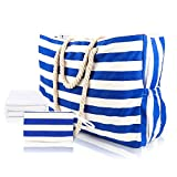 MESOCO Beach Bags Travel Tote handlbags Waterproof Cotton Canvas,with Zipper Closure and Inner Pockets,Mediterranean Style XX-Large Gift Beach Towel