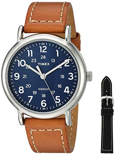 Timex Men's TWG019200 Weekender 40 Tan/Blue Two-Piece Leather Strap Watch Gift Set + Black Leather ()