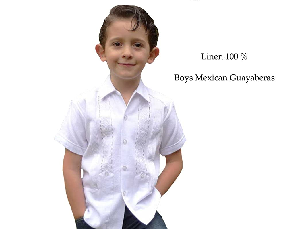 d5d071d823 GUAYABERASCUBANAS Party Guayabera for Kids.Deluxe Guayabera for Kids.  Embroidery Two Pockets. at Amazon Men s Clothing store