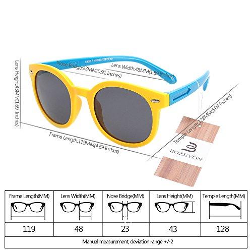 BOZEVON Unisexe Rétro Polarisées Lunettes de Soleil pour Enfants Garçons Filles Monture en caoutchouc flexible Sport Lunettes Jaune/Bleu