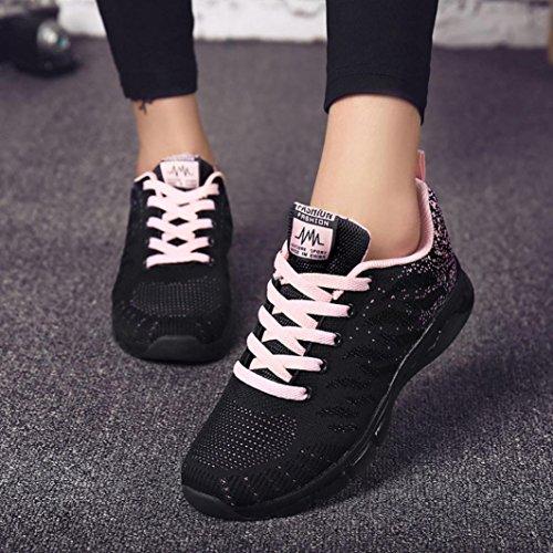 needra Automne Student Printemps Hiver D'air amp;h Rose Chaussures Volantes Net Femme Tissées Loisirs De S Sneakers Course Coussin Sports Fq5wxAHqn