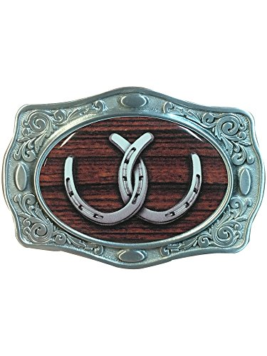 Silver Tone Belt Buckle with Horseshoes Detail