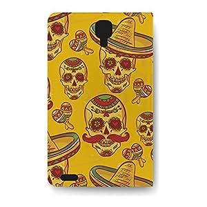 Leather Folio Phone Case For Samsung Galaxy S4 Leather Folio - Mexican Sugar Skulls in Gold Lightweight Wrap-Around