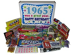Happy 52nd Birthday Wishes Gift Idea - Retro Candy Gift Basket Box for a 52 Year Old Man or Woman Born in 1965