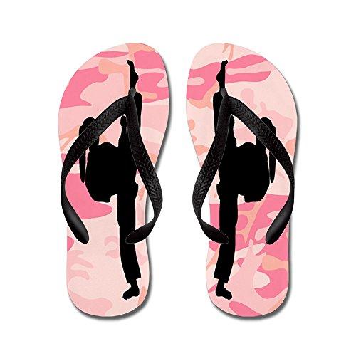 Cafepress Karate Sand - Flip Flops, Roliga Rem Sandaler, Strand Sandaler Svart