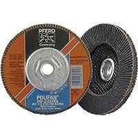 "PFERD 60488 Polifan PSF Z-EXTRA Type 27 Flat Flap Disc, Zirconia Alumina, 4-1/2"" Diameter, 5/8-11 Thread, 13300 rpm, 60 Grit"