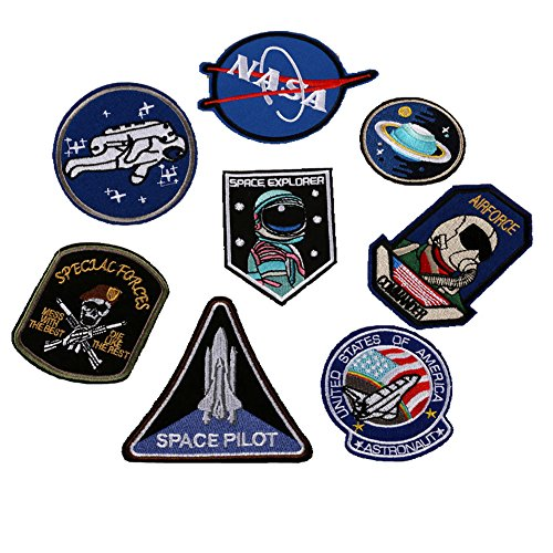 Lightbird Embroidered Sew on Patches Novelty Applique Iron Patches for Uniform, Jacket, Jeans, Polo and More (8 Space (Space Related Costumes)
