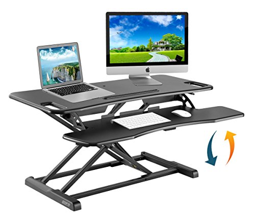 Height Adjustable Standing Desk Converter Ergonomic Sit Stand Black Riser Large Table Top Size 37 Inch Gas Spring Workstation Anti Fatigue Up Down Position Dual Monitor Computer Shelf Home Office