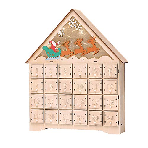 VIVOHOME Wooden LED Lighted Santa Sleigh Reindeer Snowflakes Christmas Countdown Advent Calendar with Drawers Battery Operated (To Santas Paint Wooden)