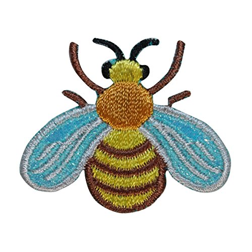 Bumble Bee Embroidered (ID 1601C Honey Bee Patch Bumblebee Garden Insect Embroidered Iron On Applique)