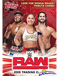 2019 Topps WWE RAW Wrestling EXCLUSIVE Factory Sealed Retail Box with RELIC Card! Look for Cards & Autographs of WWE Superstars Triple H, Ronda Rousey, Kevin Owens, Alexa Bliss & Many More! WOWZZER!