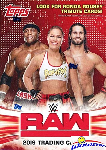 2019 Topps WWE RAW Wrestling EXCLUSIVE Factory Sealed Retail Box with RELIC Card! Look for Cards & Autographs of WWE Superstars Triple H, Ronda Rousey, Kevin Owens, Alexa Bliss & Many More! WOWZZER! ()