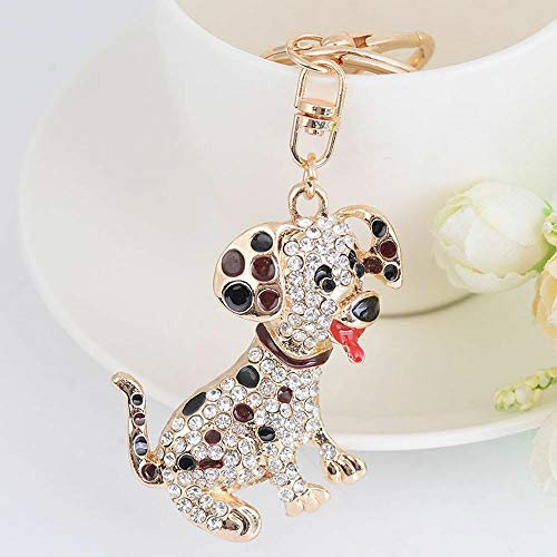 Dog Shape Rhinestone Women Cute Handbag Pendant Key Chain Key Ring Key Holder | color - black