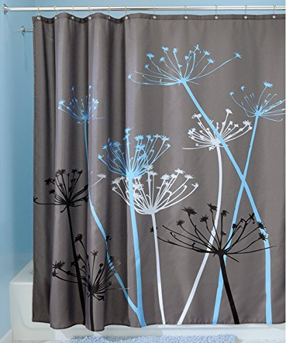 Famibay Decorative Thistle Shower Curtain With Curtain Hooks Extra Long  Waterproof Water Repellent Bathroom Decoration 72 X 72 Inch (Dandelion Gray/ Blue)