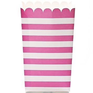 Amazon.com: Simply Baked Small Paper Popcorn Box, Fuchsia & White ...