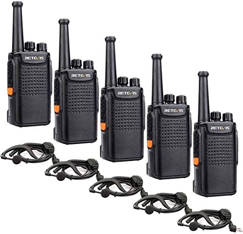 Retevis RT67 2 Way Radios Walkie Talkies Long Range,Rechargeable Two Way Radios Adults,with Earpiece 3000mAh Battery VOX for Indoor Business 5 Pack